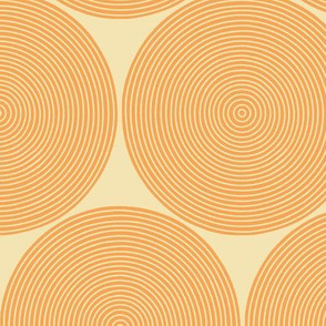 concentric circles - orange on cream