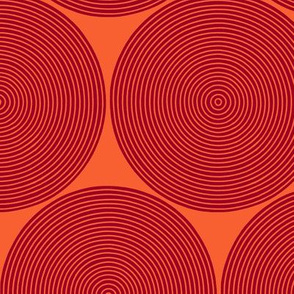concentric circles - ruby on orange