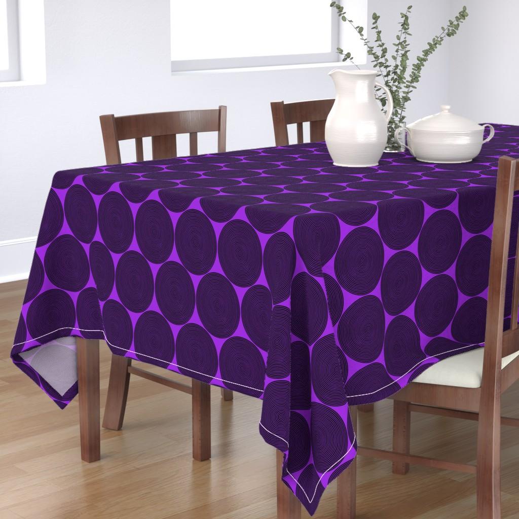 Bantam Rectangular Tablecloth featuring vinyl records on purple by weavingmajor