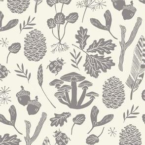 nature walk // grey and cream leaves block print linocut pinecones acorns leaves leaf autumn fall nature outdoors