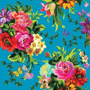 """12"""" Floral Pop Large - Aqua"""