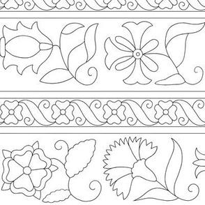 Elizabethan Blackwork Floral Bands