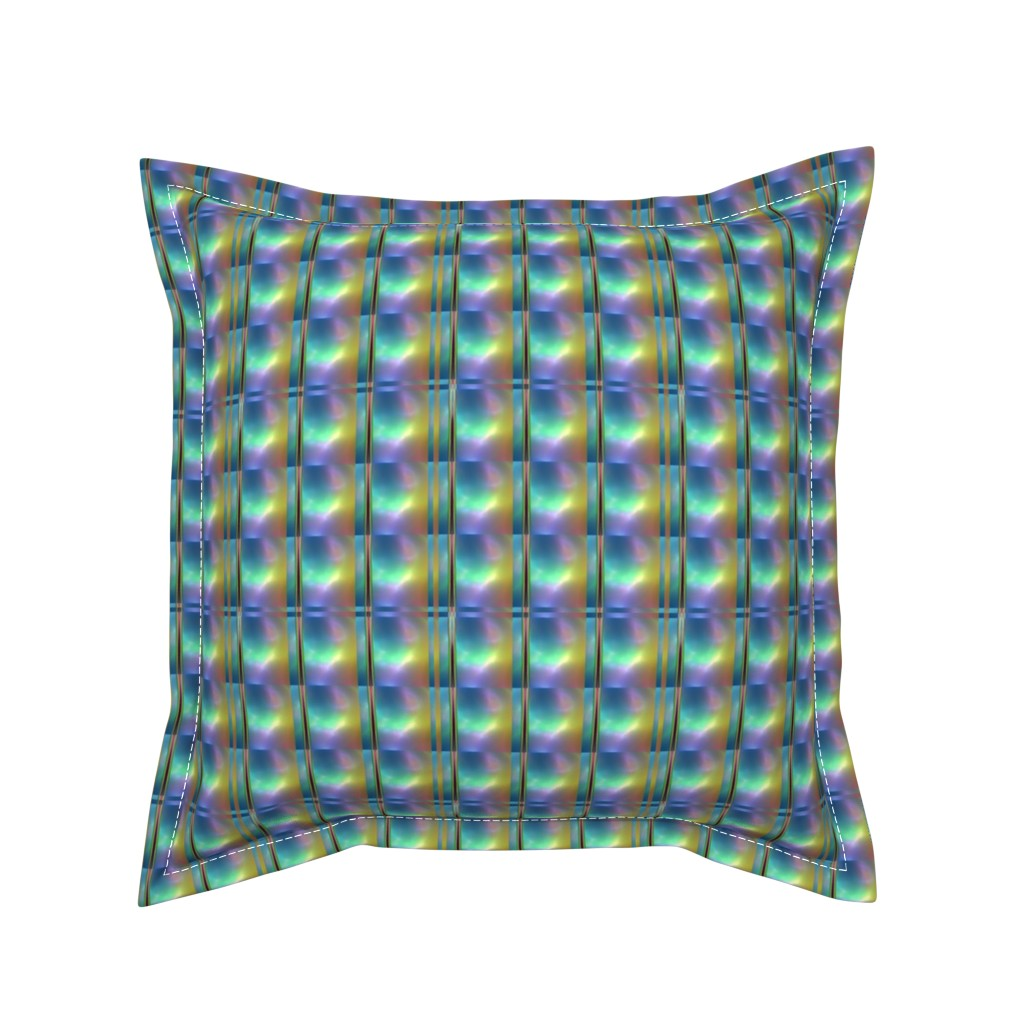 Serama Throw Pillow featuring Glowing Colors Tiled Geometric by gingezel