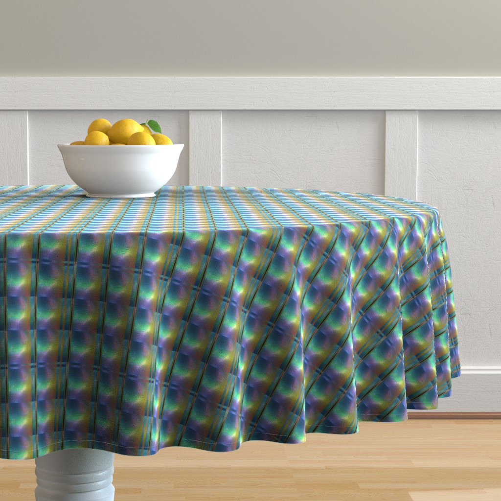 Malay Round Tablecloth featuring Glowing Colors Tiled Geometric by gingezel
