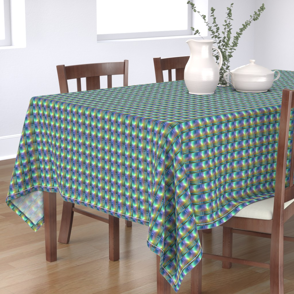 Bantam Rectangular Tablecloth featuring Glowing Colors Tiled Geometric by gingezel