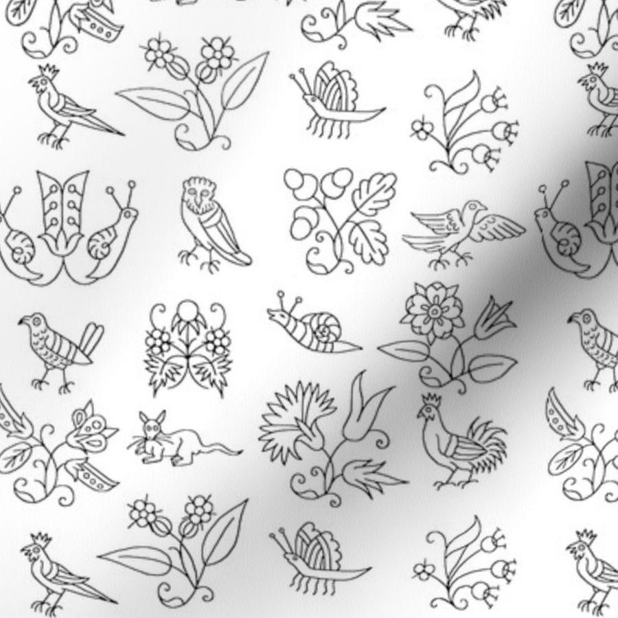 433328ecba9f4 Elizabethan Blackwork Flowers, Birds, an - Spoonflower