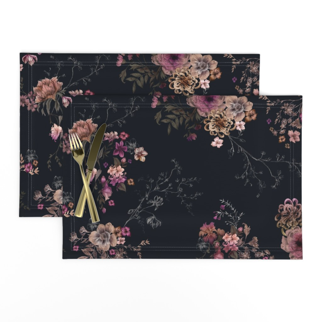 Lamona Cloth Placemats featuring Japanese Boho Floral by caseysaccomanno