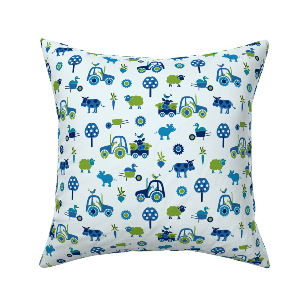 Catalan Throw Pillow featuring farm_print_blue by juditgueth
