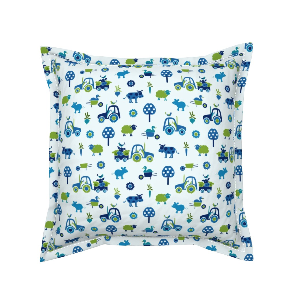 Serama Throw Pillow featuring farm_print_blue by juditgueth