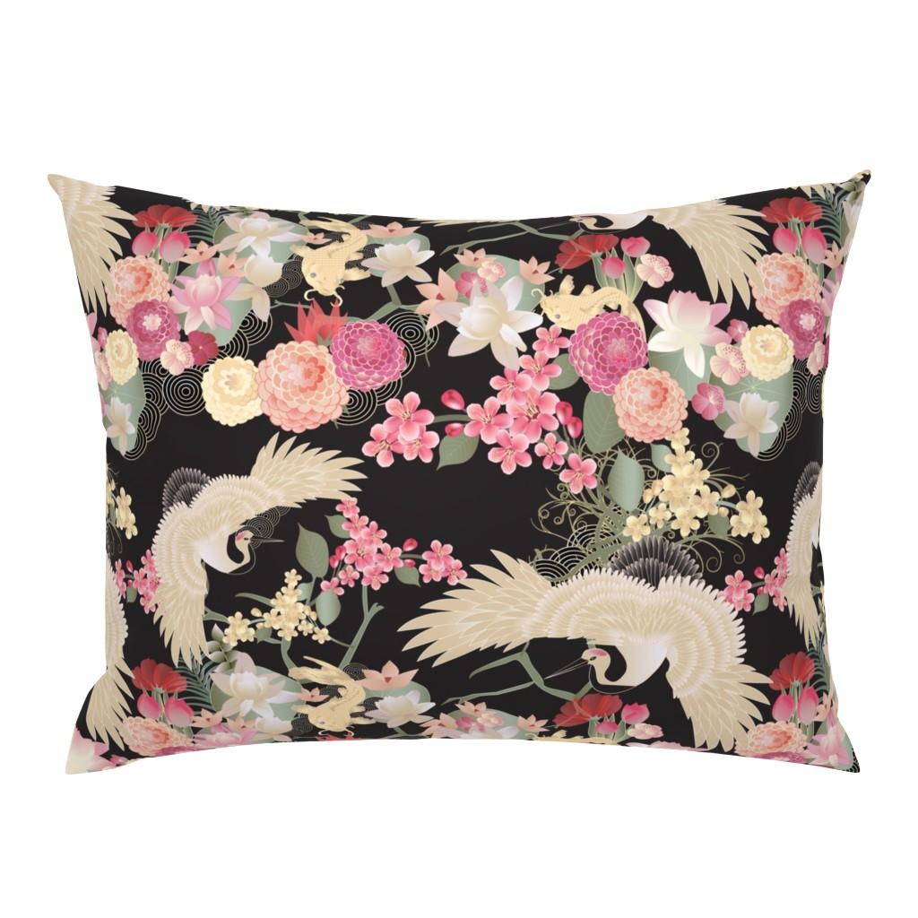 Campine Pillow Sham featuring Japanese garden with cranes by kociara