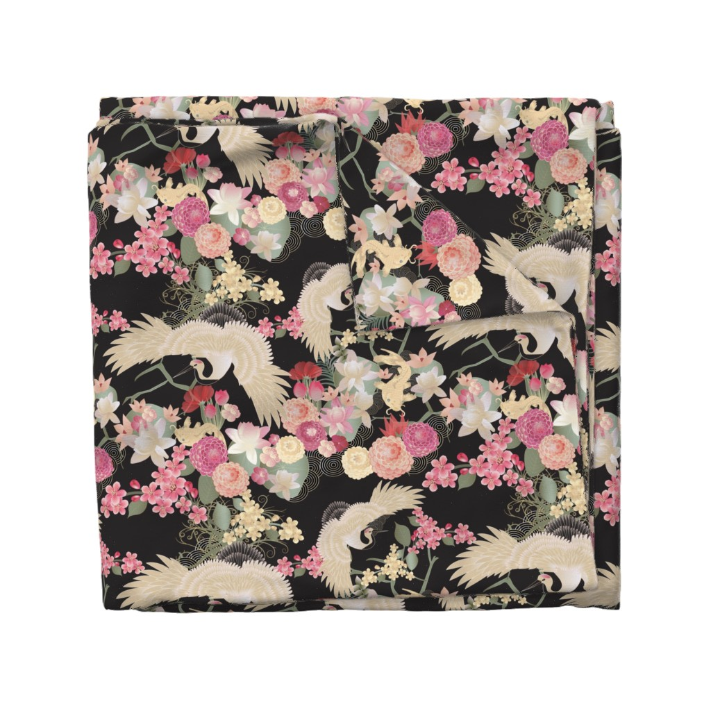 Wyandotte Duvet Cover featuring Japanese garden with cranes by kociara