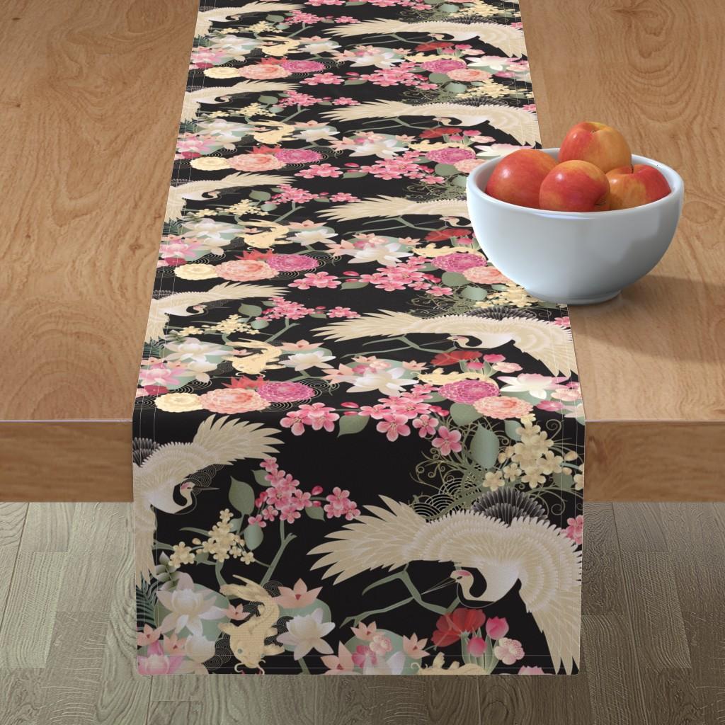 Minorca Table Runner featuring Japanese garden with cranes by kociara