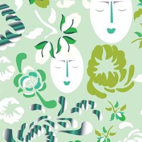 16-16AS English Floral Summer Garden Green Mum Face_Miss Chiff Designs