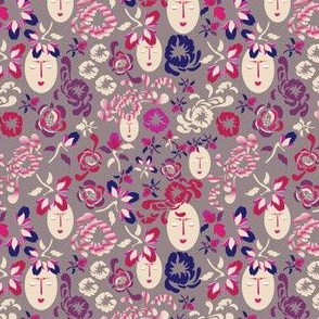 Kabuki Mask Floral on Taupe_Miss Chiff Designs