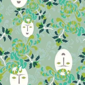 16-16AQ Kabuki Garden Green_Miss Chiff Designs