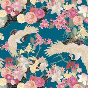 Japanese garden cranes on blue