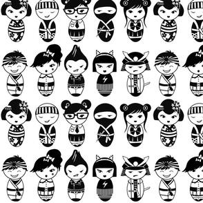 Japanese Dolls bw
