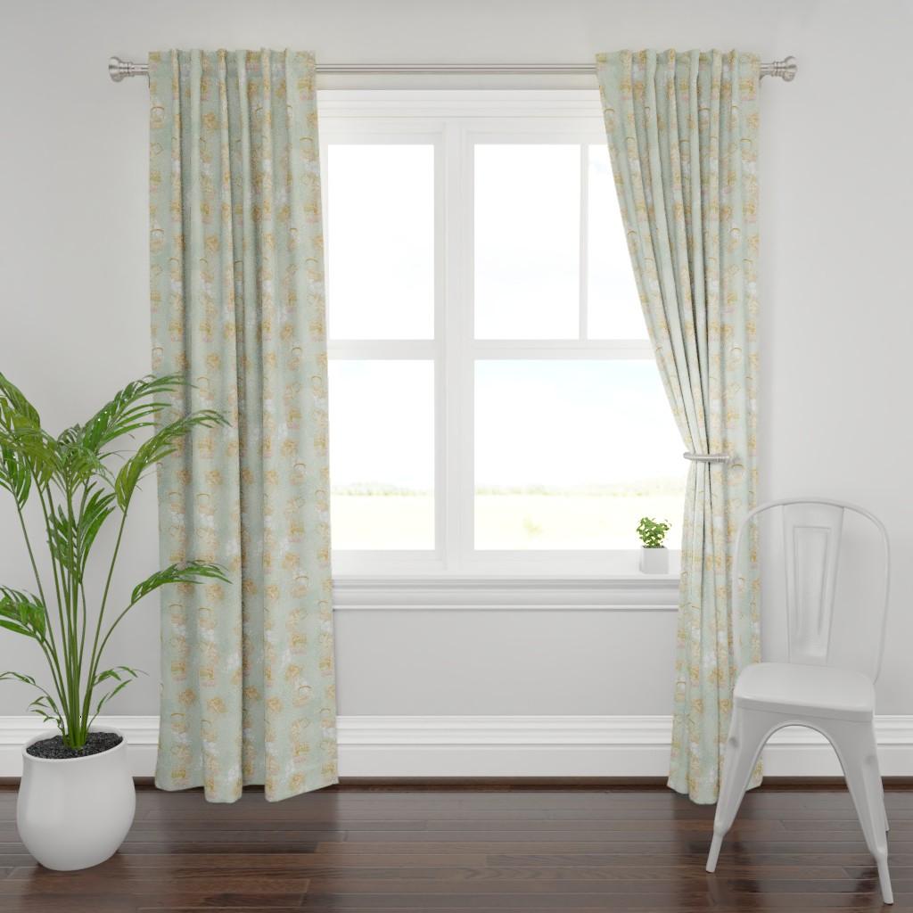 Plymouth Curtain Panel featuring Green Tea Garden by liliflorapretty