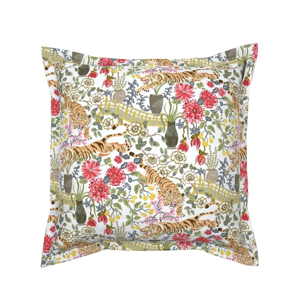 Serama Throw Pillow featuring Wild Tiger Garden by angelastevens