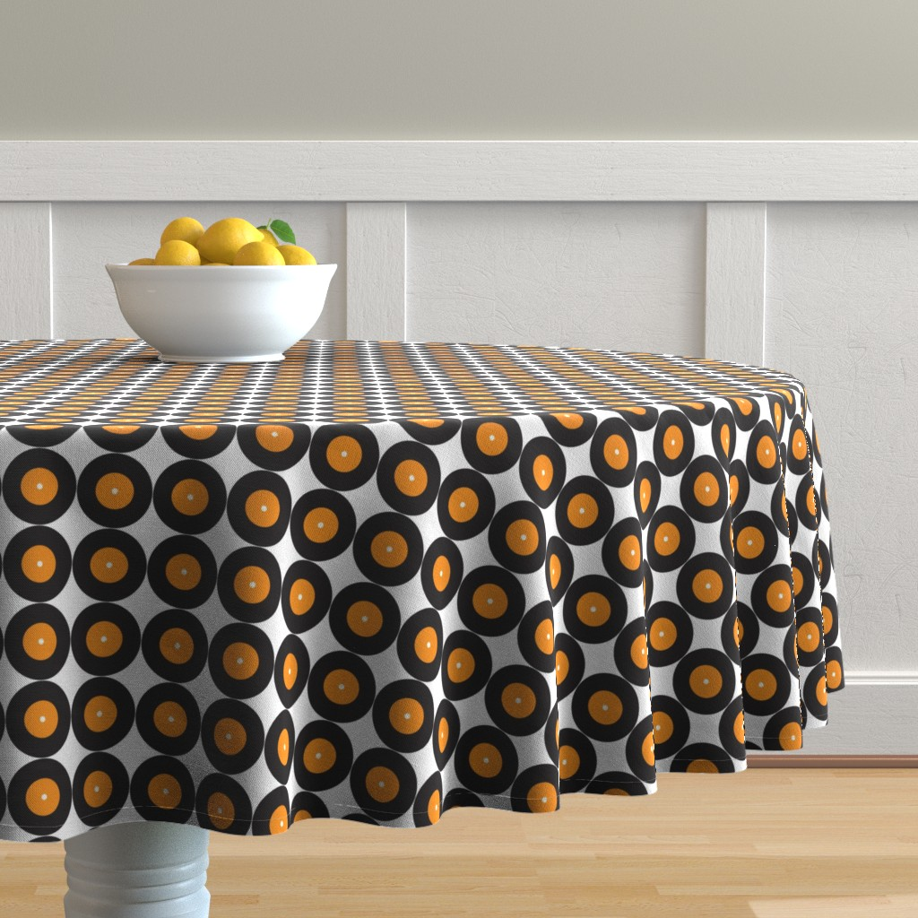 Malay Round Tablecloth featuring Retro Vinyl 50s Music Band _Miss Chiff Designs by misschiffdesigns