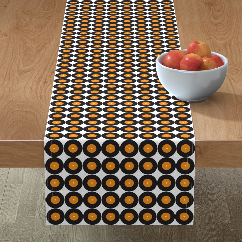 Minorca Table Runner featuring Retro Vinyl 50s Music Band _Miss Chiff Designs by misschiffdesigns
