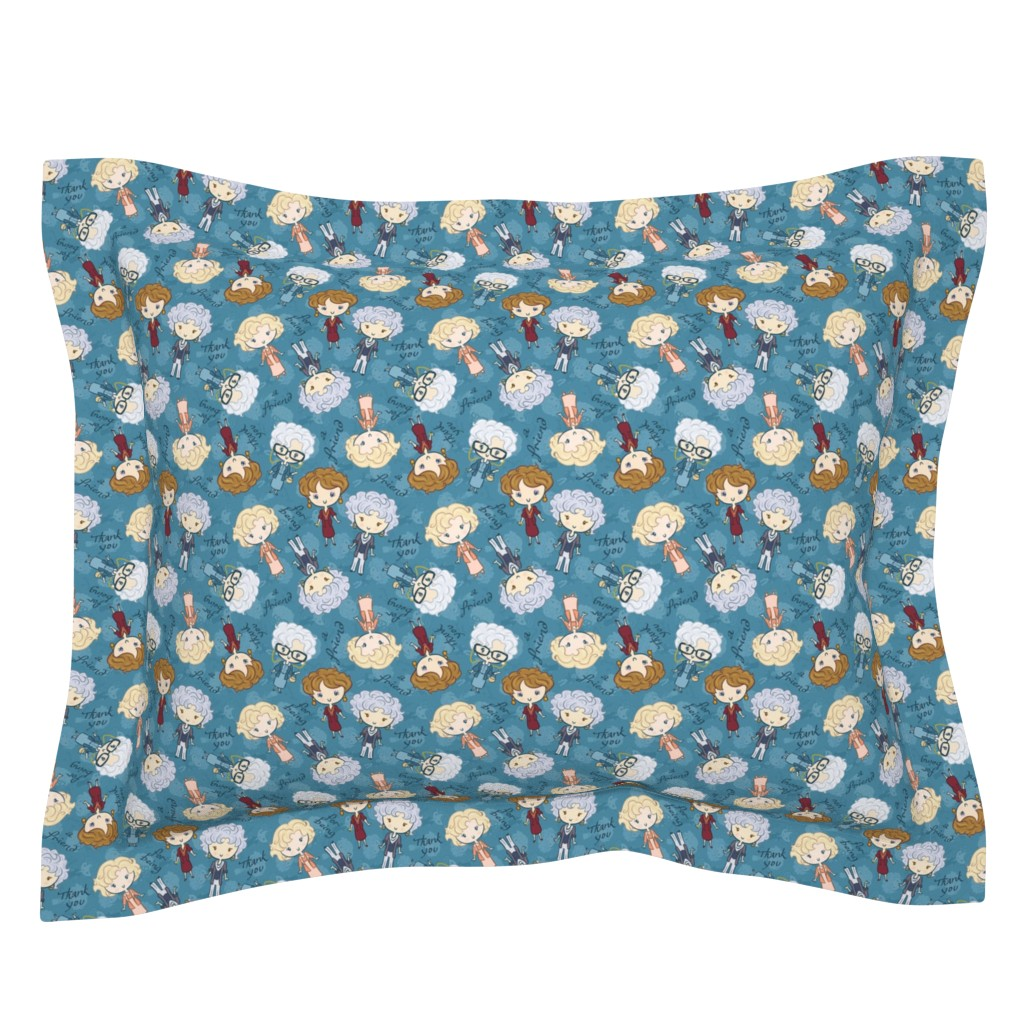 Sebright Pillow Sham featuring Thank You for Being a Friend (small) by elladorine