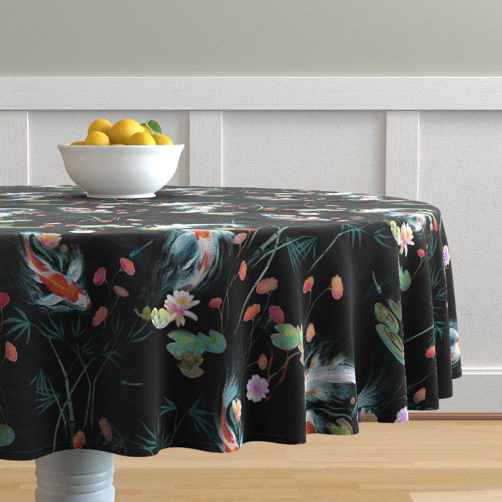 Malay Round Tablecloth featuring japanese water garden - black by designed_by_debby