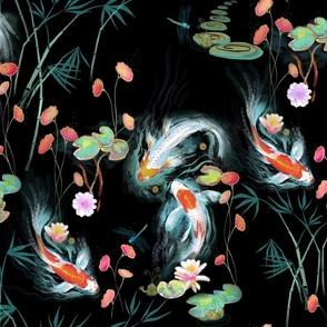Japanese Water Garden Black Spoonflower