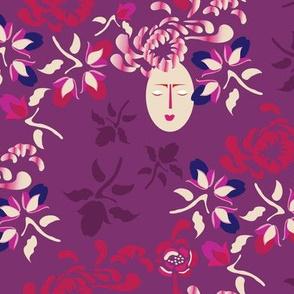 16-16AP Kabuki Garden Plum Floral_Miss Chiff Designs