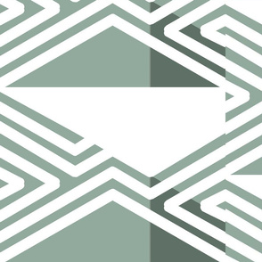 White Green Pink abstract tribal triangles
