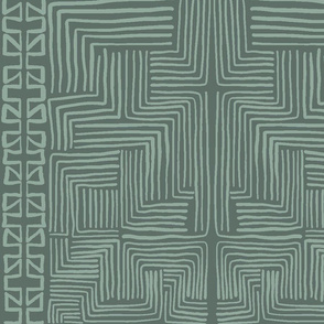 Green African Mudcloth inspired shapes