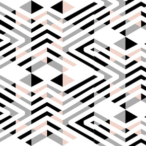 White Black Gray abstract tribal triangles