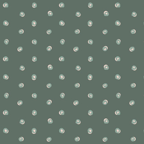 Green White Funky Dots