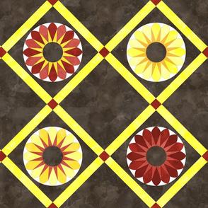 Cheater Quilt Sunflowers Pattern Brown Yellow Orange