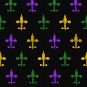 Fleurdelis - Mardi Gras purple, gold, green on charcoal