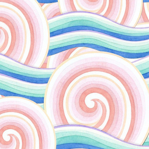 Pink Blue Auspicious Waves