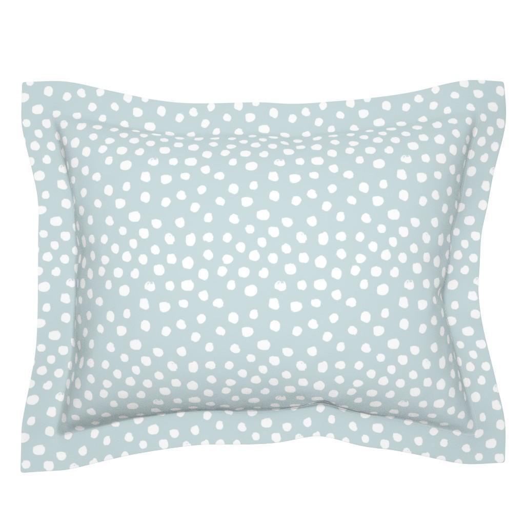 Sebright Pillow Sham featuring soft blue dots spots painted dot soft blue by charlottewinter
