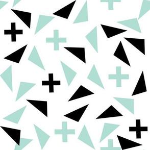 plus and tri scandi kids black and mint triangles plus swiss cross edgy kids trendy kids room fabric design