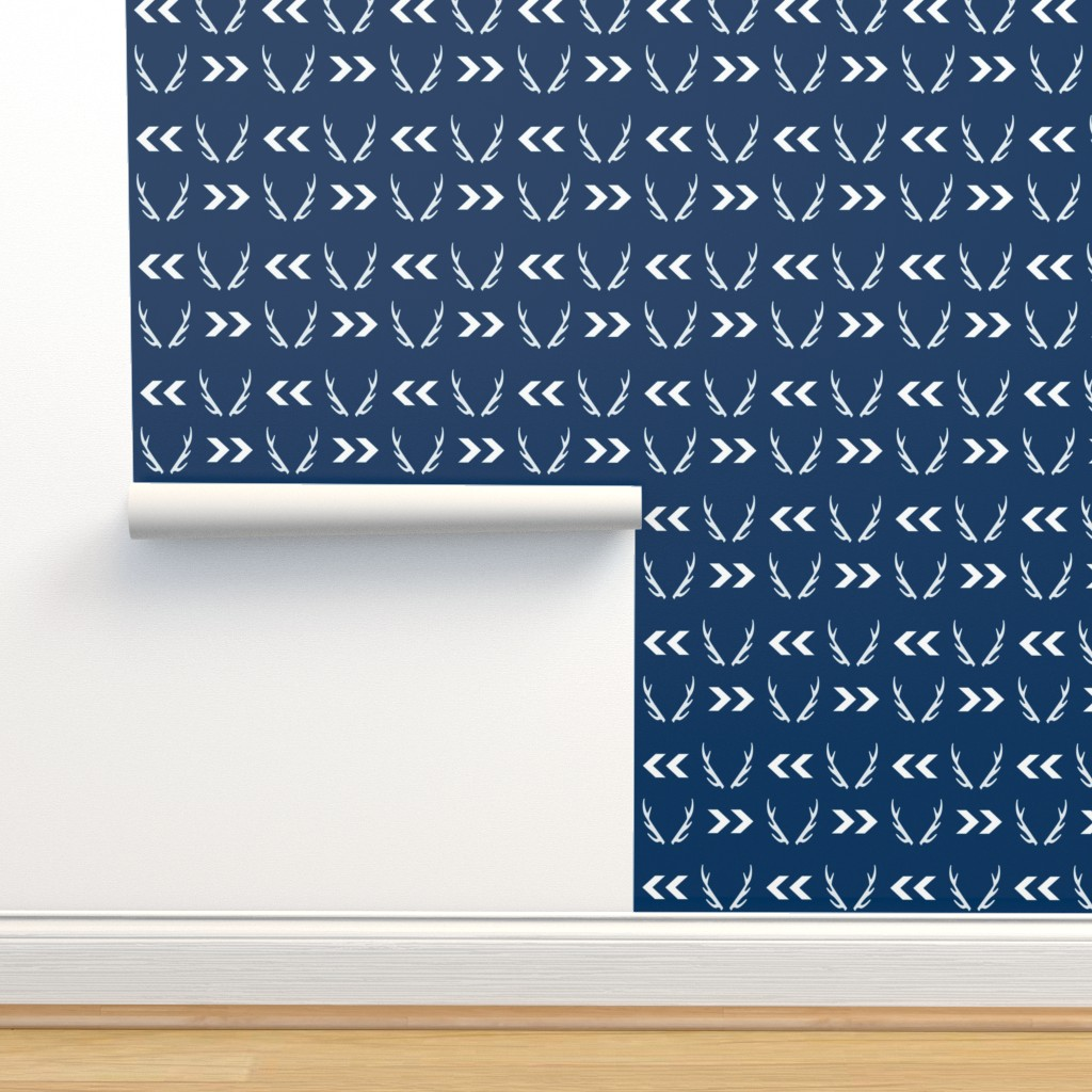 Isobar Durable Wallpaper featuring antler antlers boys navy navy blue kids boys nursery hunting lodge buck deer antlers by charlottewinter