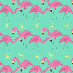 Flamingos in a Row