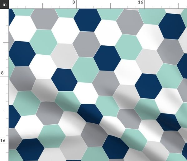 be177147a3046 Fabric by the Yard hexagon mint navy blue grey kids cheater quilt baby  blanket baby quilt baby boy boys nursery hexie quilt kids baby