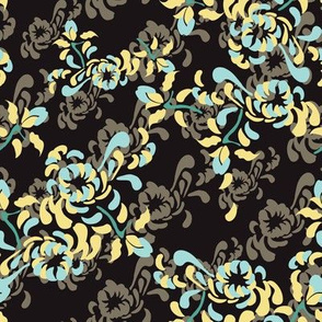 16-16S English Country Garden Floral Botanical Mum Mint Taupe Yellow Black _Miss Chiff Designs