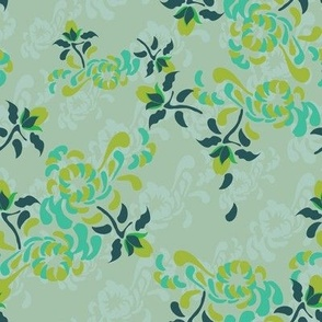 16-16R Kabuki Large Floral Green_Miss Chiff Designs