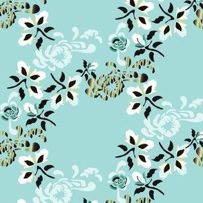 16-16P English Garden Floral Botanical Trellis Mint Black Yellow White_Miss Chiff Designs