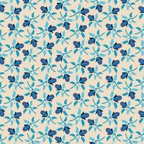 Blue Floral Mist on cream_Miss Chiff Designs