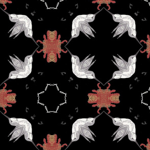Inspired Hummingbirds And Red Floral Kaliedescope Pattern