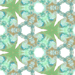 Floriography Inkblot Blue Iris Kaleidoscope Pattern