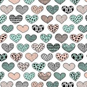 Geometric texture hearts love valentine wedding theme scandinavian style black and white mint coral
