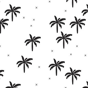 Geometric tropical summer palm tree and crosses gender neutral black and white design