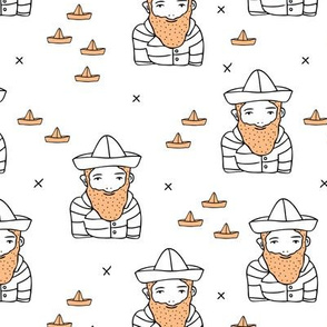 Hi sailor little french captain of the ship with origami boat hat scandinavian style ahoy fabric ginger kid